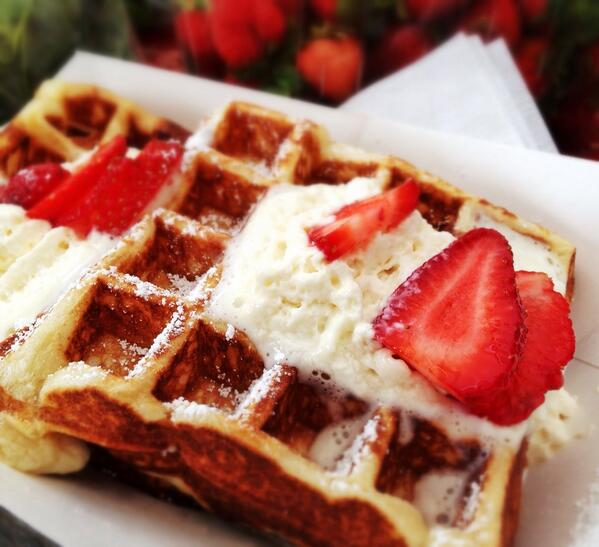 Belgian Waffles topped with real Whipped Cream and fresh Strawberries