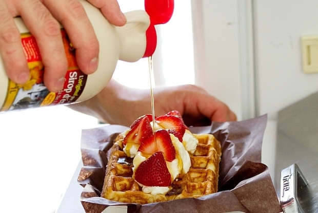Authentic Belgian Waffles getting dressed up with real Canadian Maple Syrup