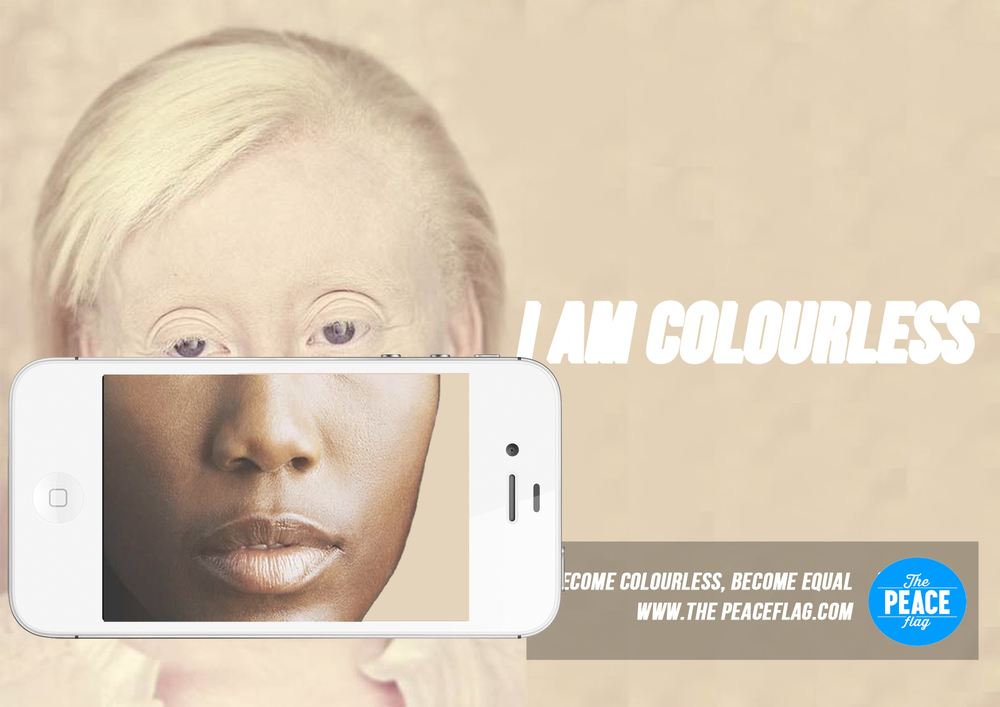 Magazine double spread that  shows the albinos true colour  when viewed with the downloadable app. It then links the viewer to the website and asks them to register support for the peace flag initiative.
