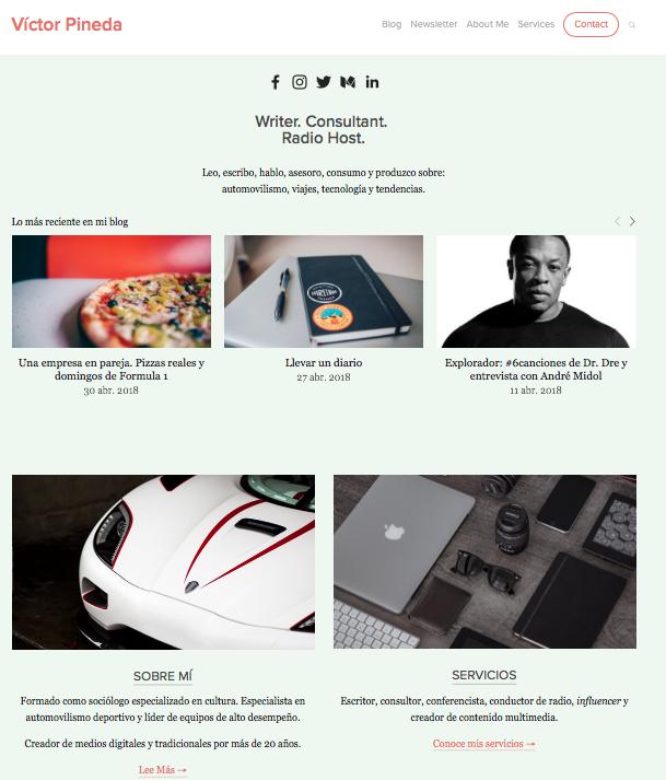 Nuevo diseño del sitio web blog de Víctor Pineda