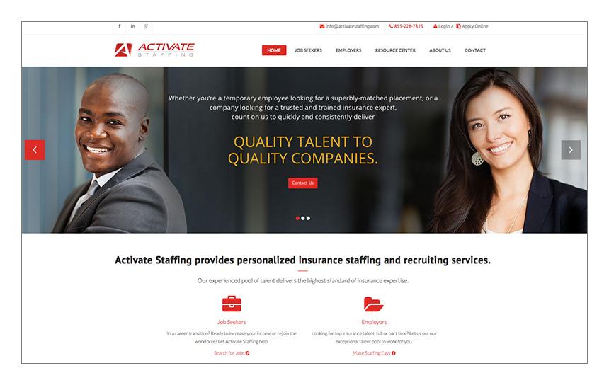 Magnetika Website Design: Activate Staffing