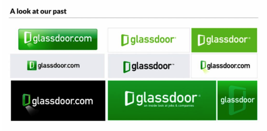 The  various iterations  of Glassdoor's original logo.