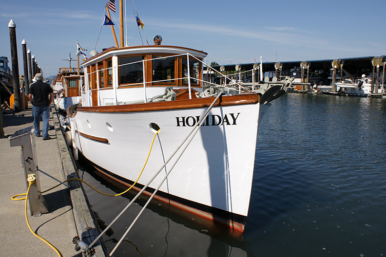Double-ender HOLIDAY written up in the latest edition of WoodenBoat magazine's Power Boats issue