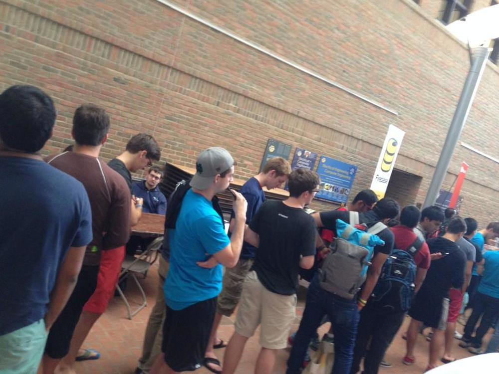 This was the line for students to get Stack Overflow t-shirts at MHacks, the first hackathon I pushed for us to sponsor. It was 200 people long!