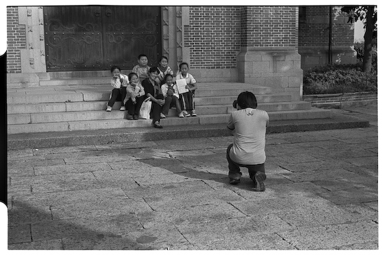 Group shoot outside Basilica (Leica M3, 50mm f1.5 Summarit, Kodak 125PX)