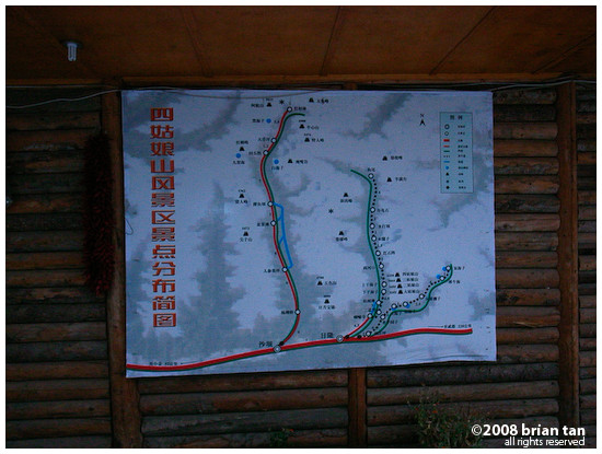 Map of Siguniang Shan area