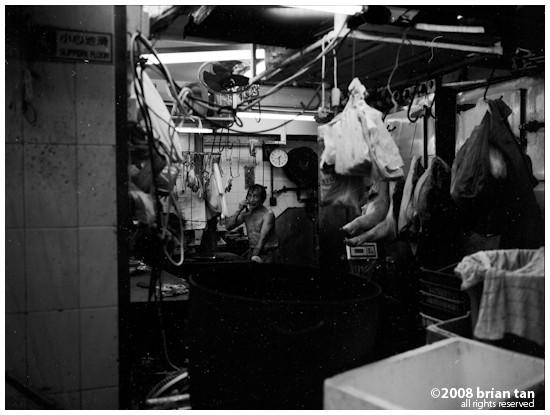 Inside a shop at night in Hong Kong