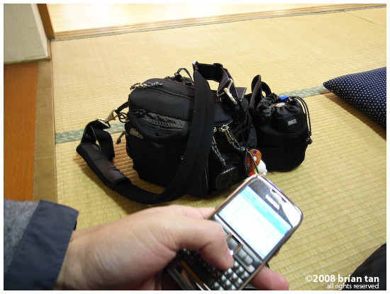 Nokia E71 'Blogging Machine' and ThinkTank Speed Demon camera carrier with lens case attached...