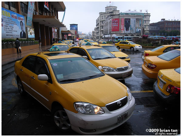 When you see plenty of yellow taxis like these, you know you're in Taiwan.