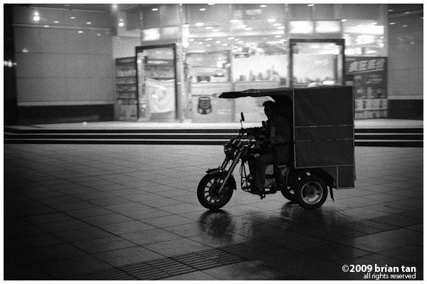 There are no shortage of public transportation to get back late at night. These 3 wheeled motorcycles are everywhere on the pedestrian street.