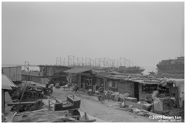 View of the fishing village on Hengsha next to the ferry pier