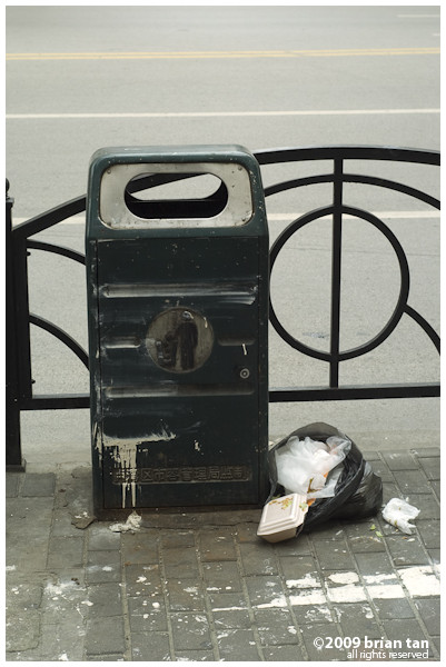 This is a little farther away from the train station, but still, a dustbin, empty and rubbish dumped next to it.