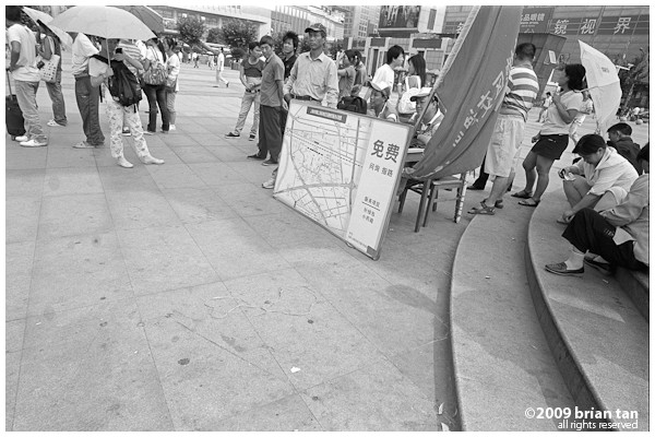 Its natural for someone new to Shanghai to get lost at the train station. This booth was set up to guide people around and can be found in the middle of a large square in front of the station.
