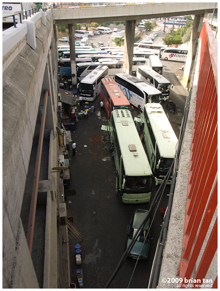 And under it, a jumble of buses refueling and being cleaned up...