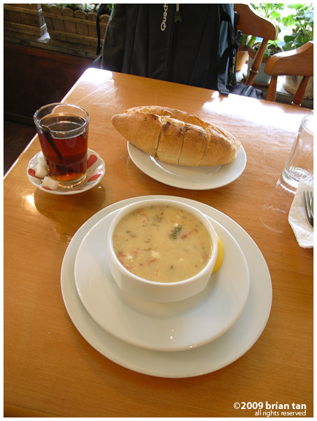 Best break ever: Fish soup, bread and a cup of Turkish tea