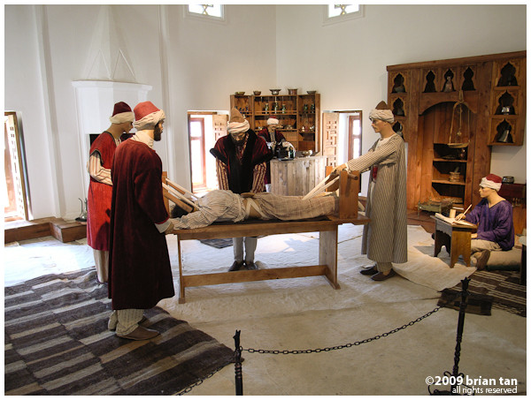 Sultan Beyazid II Complex: Mock scene showing doctors straightening a man's vertebrae
