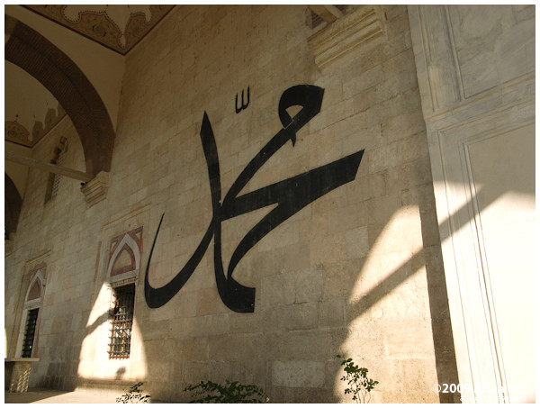 Edirne Old Mosque: Large calligraphic designs adorn the wall