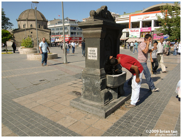 Public water fountain at the Cumhuriyet Meydani (Federal Square?)