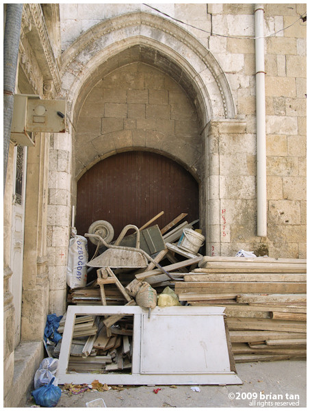 Was walking the old parts of Antakya, looking for the Orthodox Church, and came upon this jumble of construction materials stacked up on an entrance