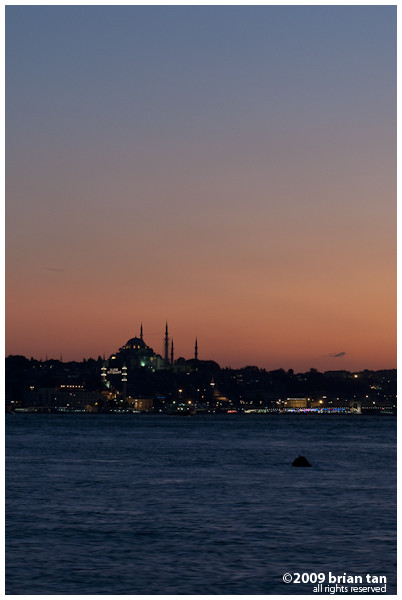 Sun set view over Suleymaniye Mosque from Uskudar