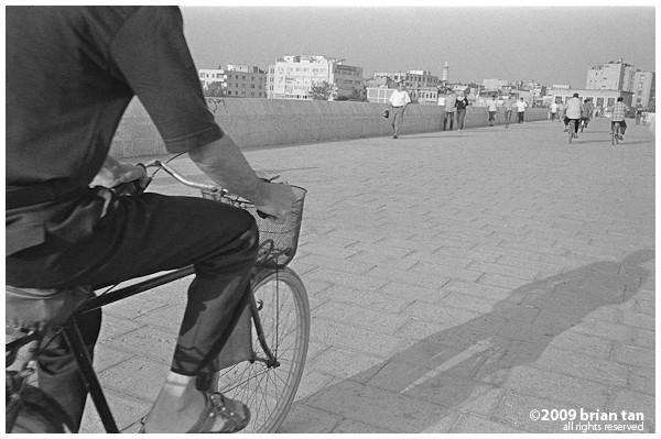 Bicycles are common on the bridge...
