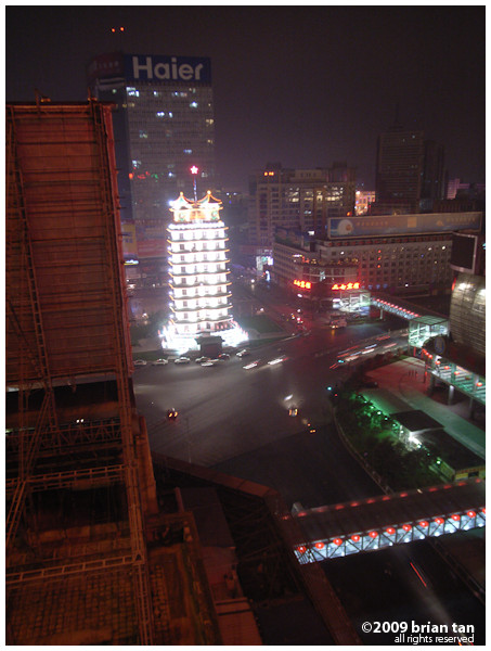 View out the hotel, smack in the middle of Zhengzhou. The bright thing is Erqi Square.