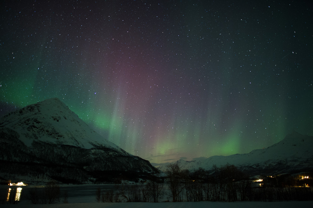 Hints of Aurora Borealis in Laksvatn to the east of Tromsø, Norway.