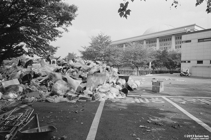 Pile of trash behind the National Assembly building