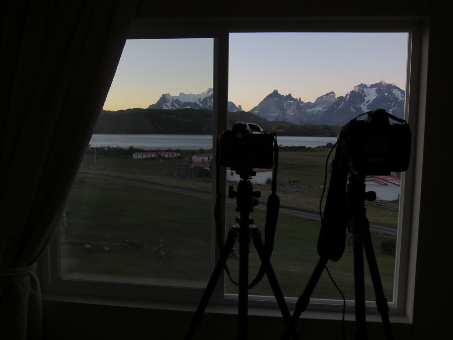 Evening setup from the hotel room for a whole night of star trails shooting.