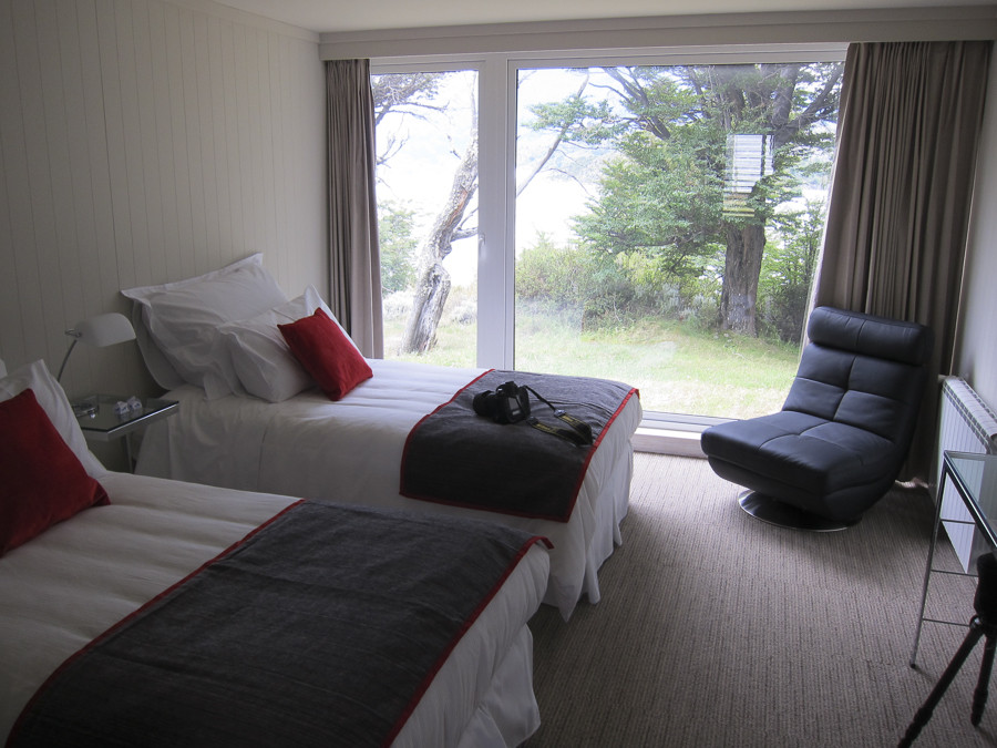 Rooms at Lago Grey. The light from the windows were blown out, otherwise the icebergs would be visible outside.