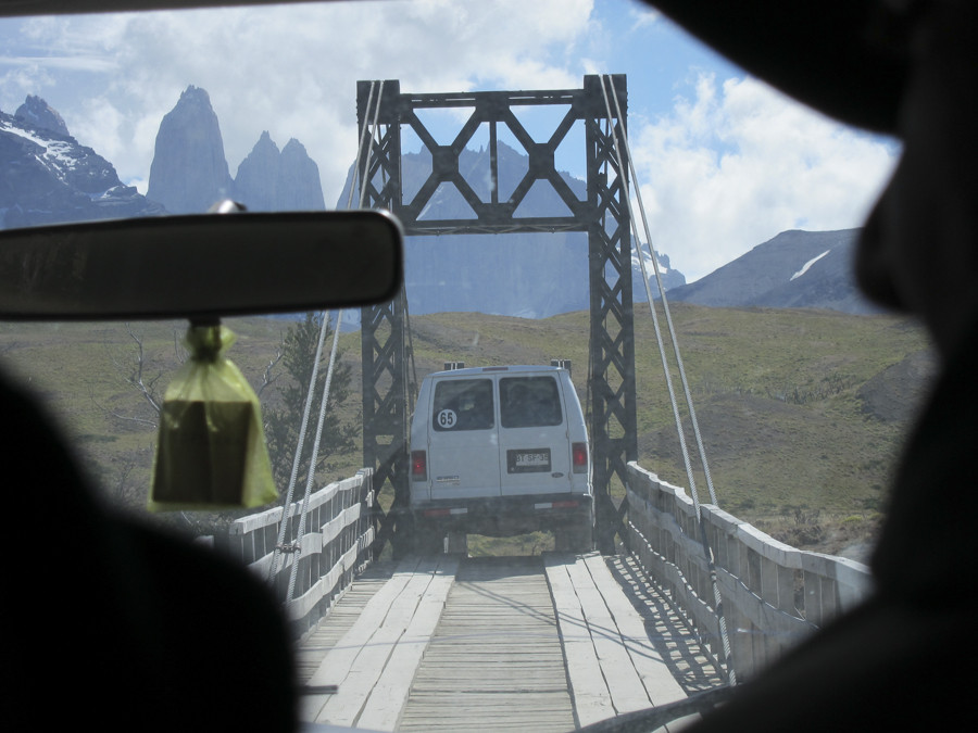 After the transfer into smaller cars, heres the squeeze through the narrow bridge.