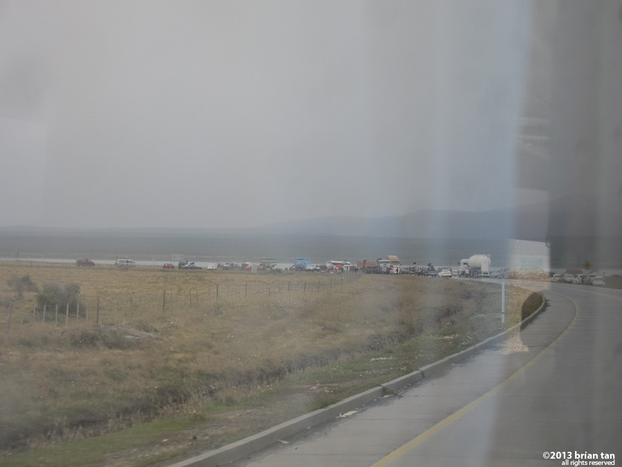 Close to Puerto Natales this is my first sight of the big jumble of cars and trucks blocking the highway leading into the city.