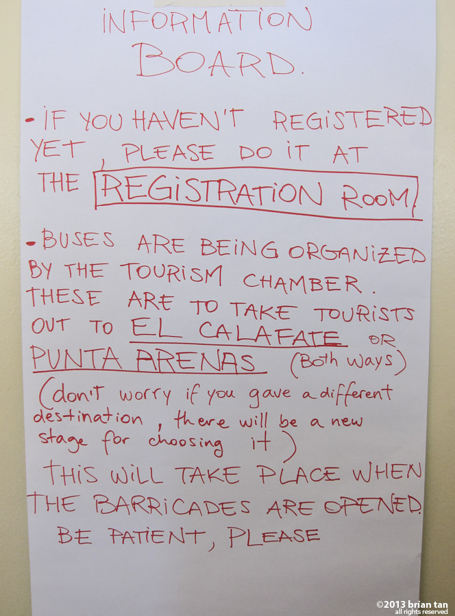 Notice on the wall to organize the hundreds of stranded tourists