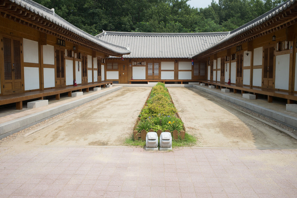 Inside the Hanok village. Not really visible here, but entrance to each door is by NFC keycard. Nice.