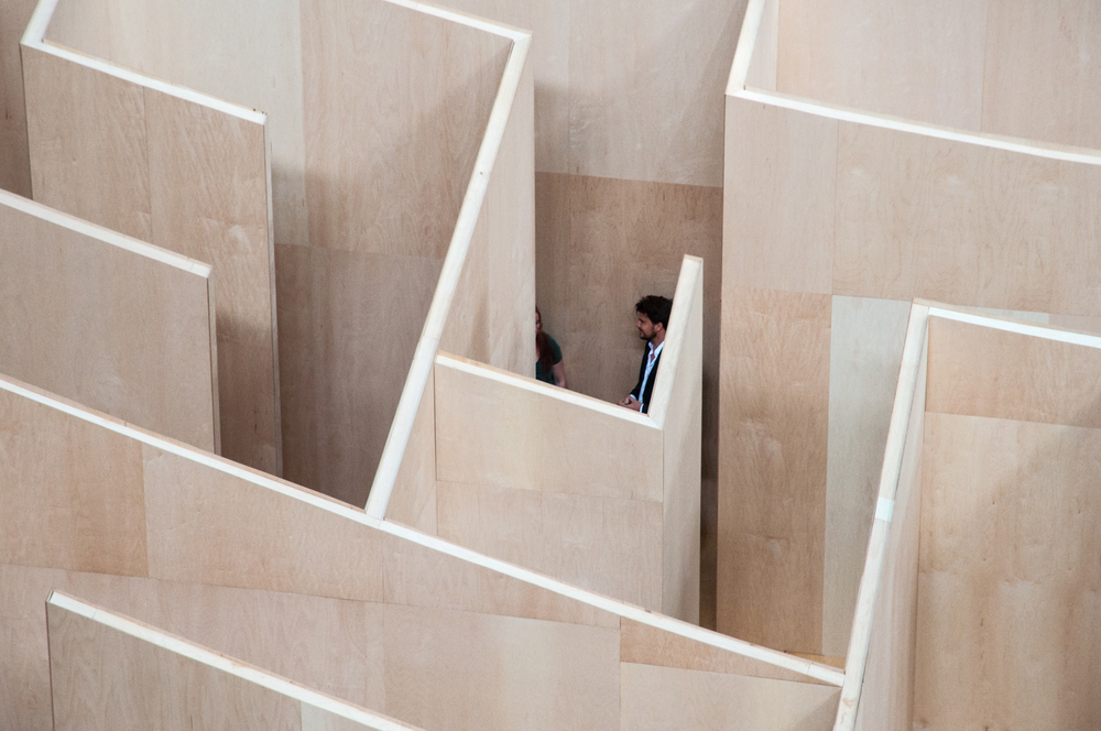 Bjarke Ingels leading a tour in the maze.