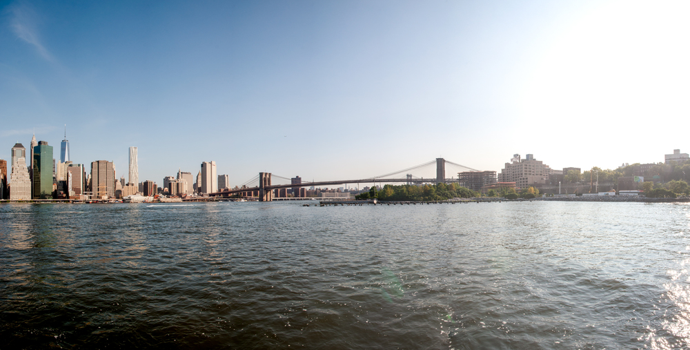 The Lower Manhattan and Brooklyn skyline with the Pierhouse visible on the right.