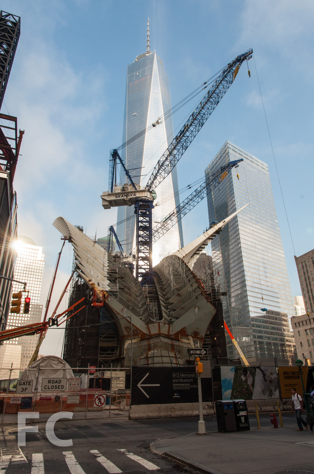 1 WTC, 7 WTC, and the WTC Transit Hub from the corner of Dey Street and Church Street.