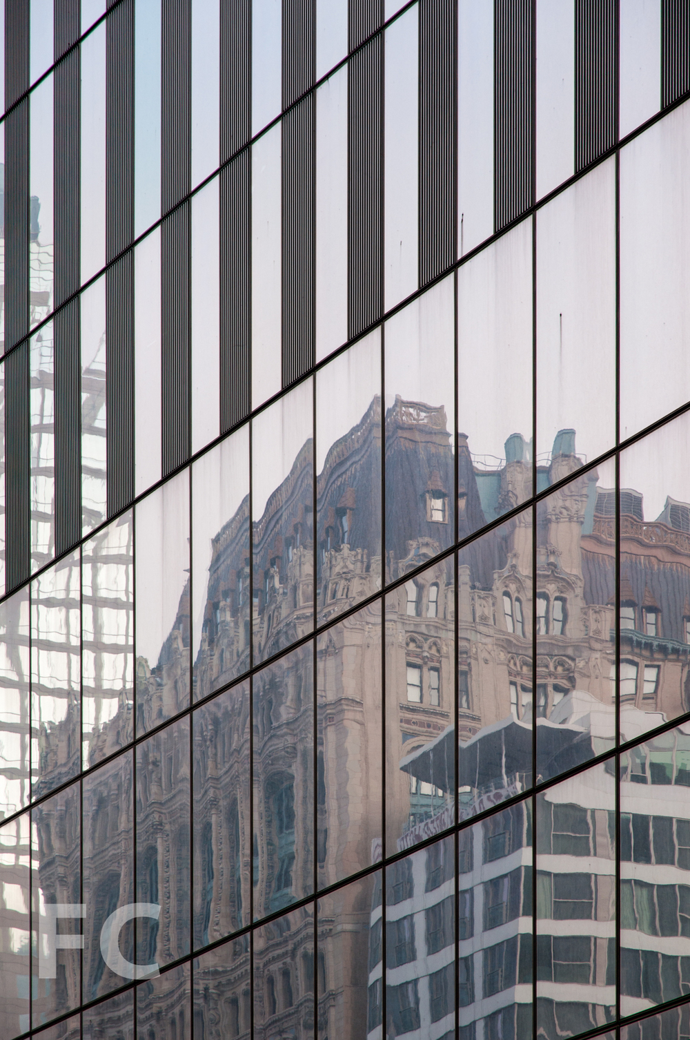 Reflections in the façade of 4 WTC.