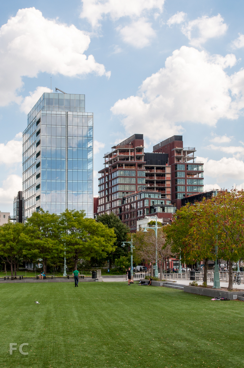View of 165 Charles (left) and 150 Charles (right) from Pier 46 at the Hudson River Park.