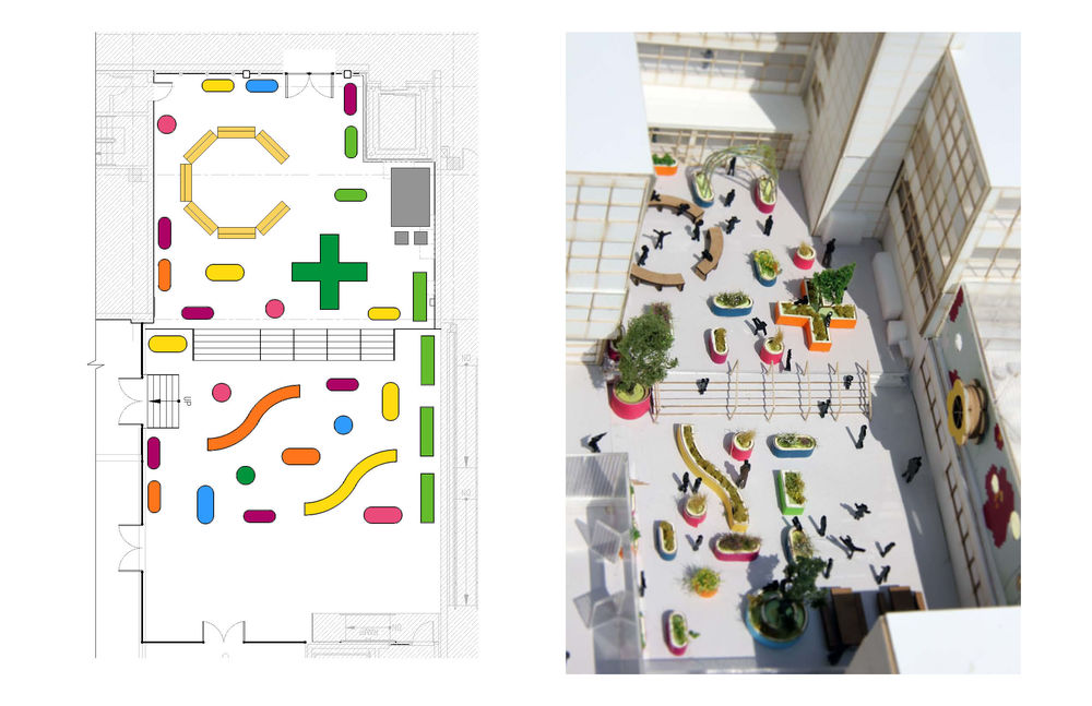Plan (left) and aerial rendering (right) of the teaching garden .   © WORKac