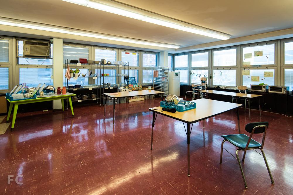 Temporary kitchen classroom.