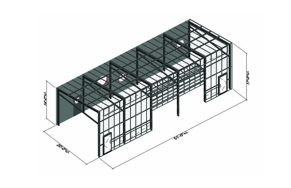 Axon of greenhouse structure.  © WORKac