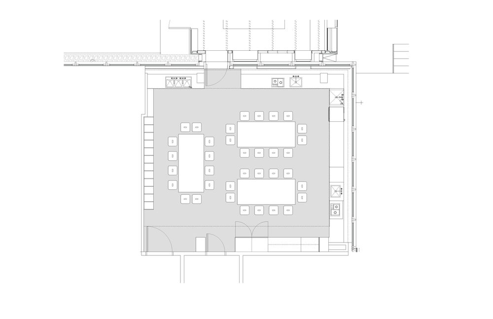 Plan of kitchen classroom.© WORKac
