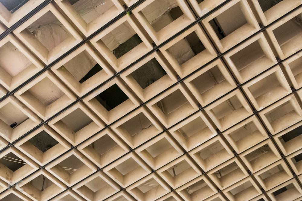 Concrete ceiling grid in the gallery.