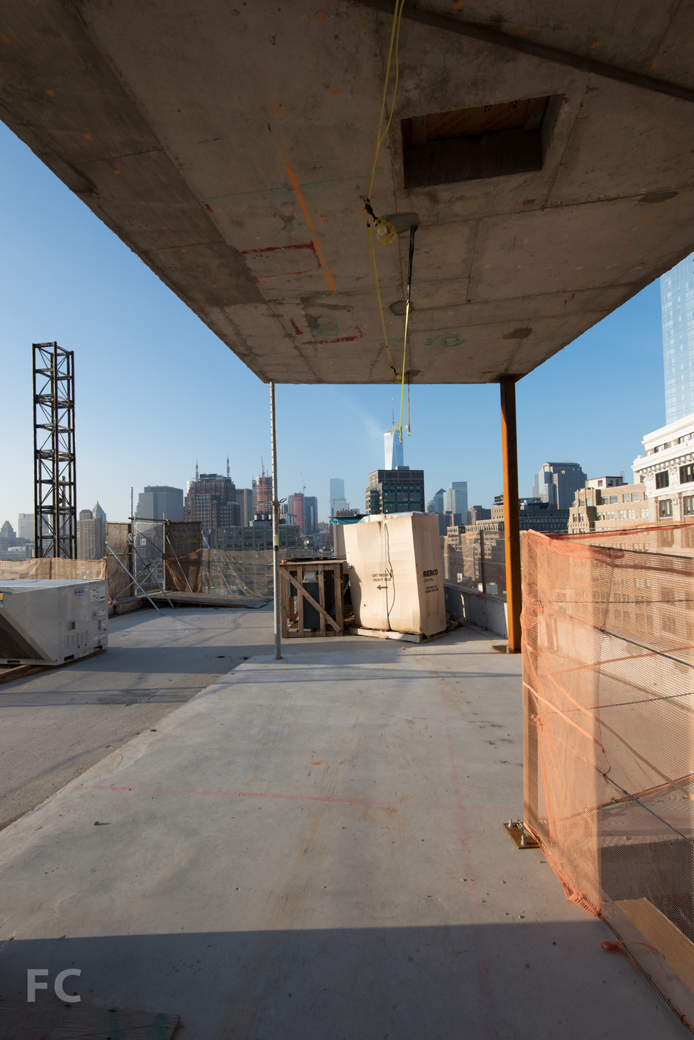 Looking south to Lower Manhattan from the rooftop living room of Penthouse A.