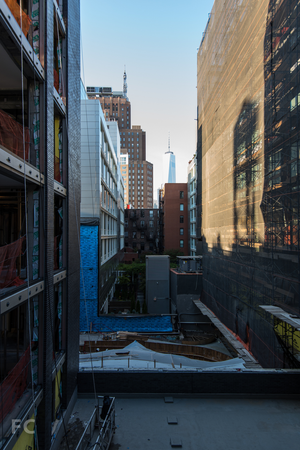 Looking south to Lower Manhattan from the kitchen balcony of the A unit.