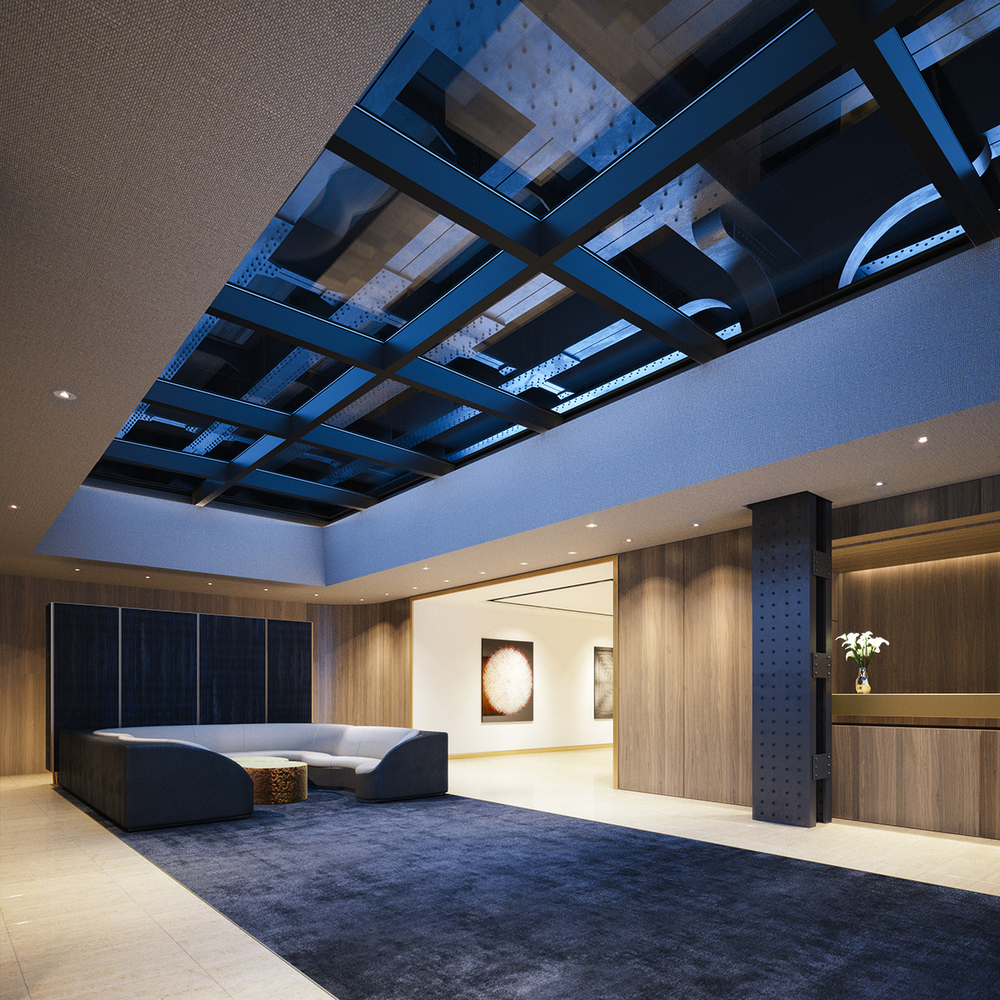 Rendering. Lobby interior with skylights revealing the High Line above.