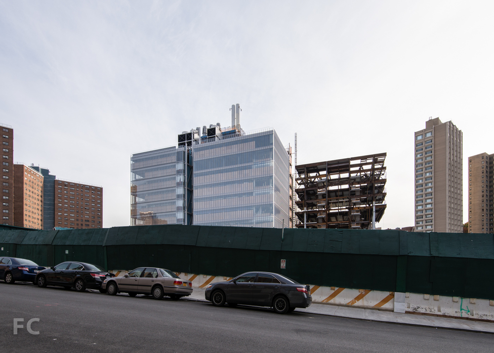 North facade of the Science Center (left) and Center for the Arts (right) from West 131st Street.