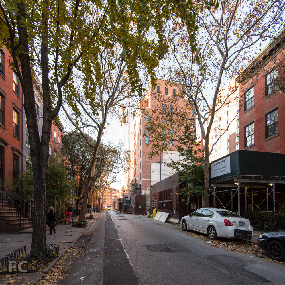 Looking west towards the Townhouses and 145 West 11th Street.