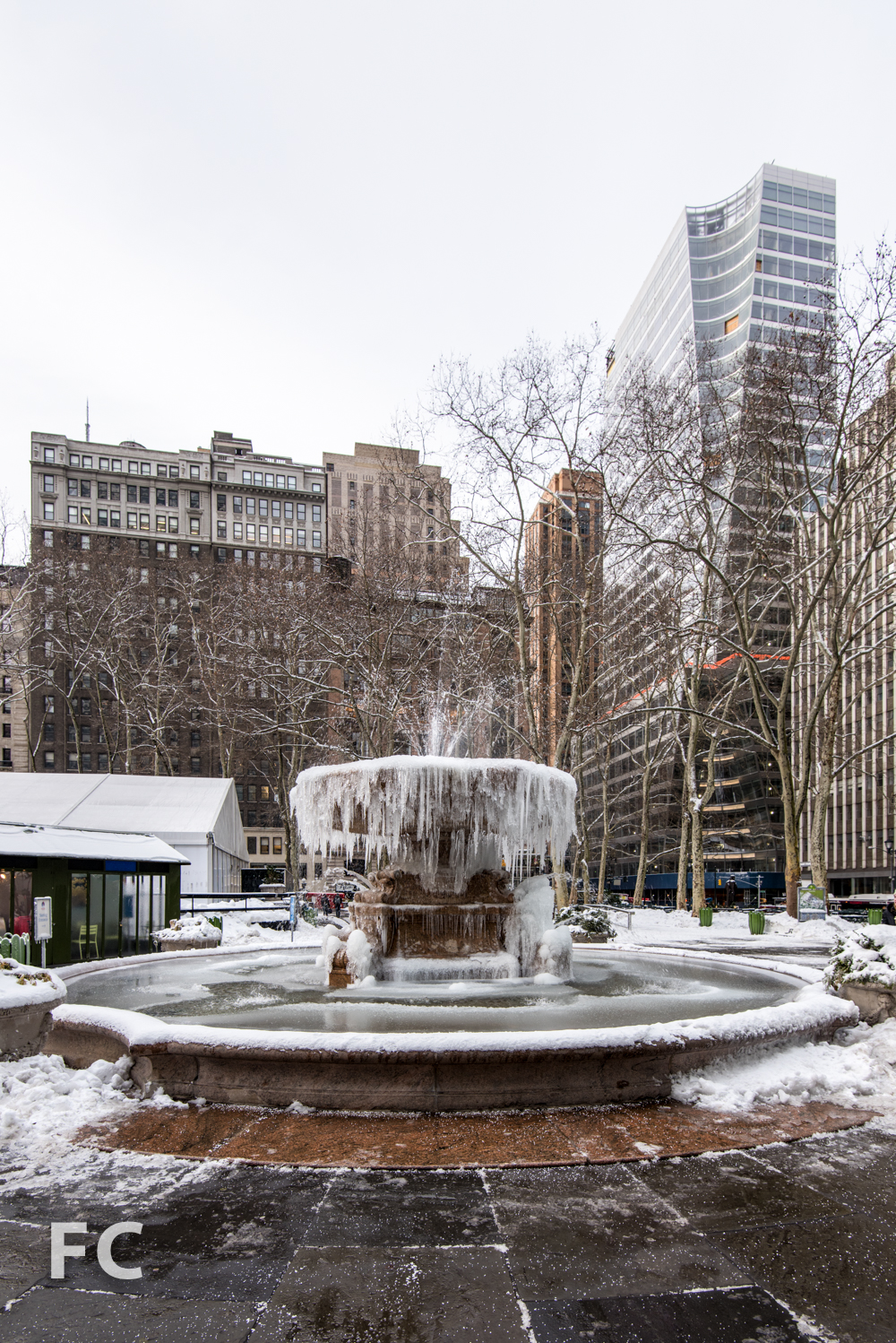 Frozen fountain in Bryant Park.